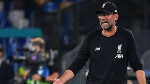 Jürgen Klopp (52), durante el partido del Liverpool con el Nápoles.