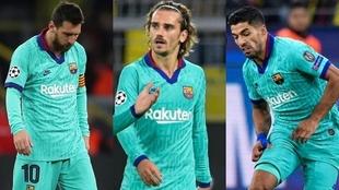 Champions: Borussia - FC Barcelona: Messi, Griezmann y Suárez.