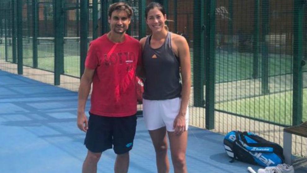 Ferrer y Muguruza, en un entrenamiento en el Sporting Tenis Valencia.