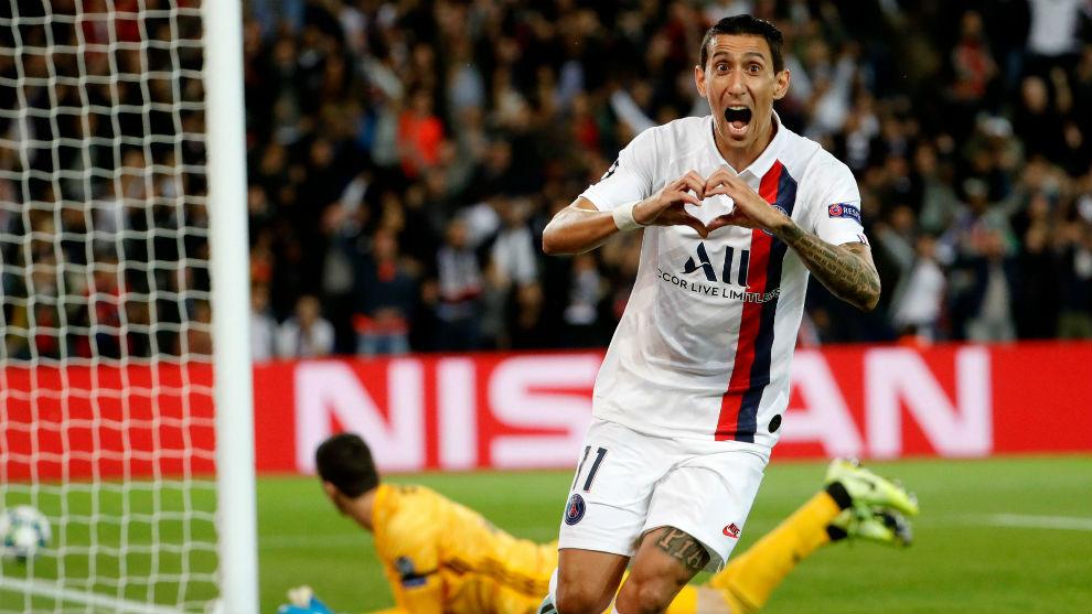 Di Maria celebra el primer gol contra el Madrid