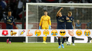 Los madridistas, cabizbajos tras un gol encajado