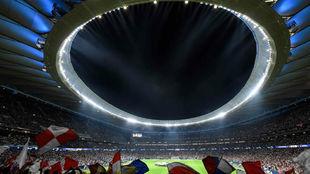 Ambiente del Wanda Metropolitano ante la Juventus.