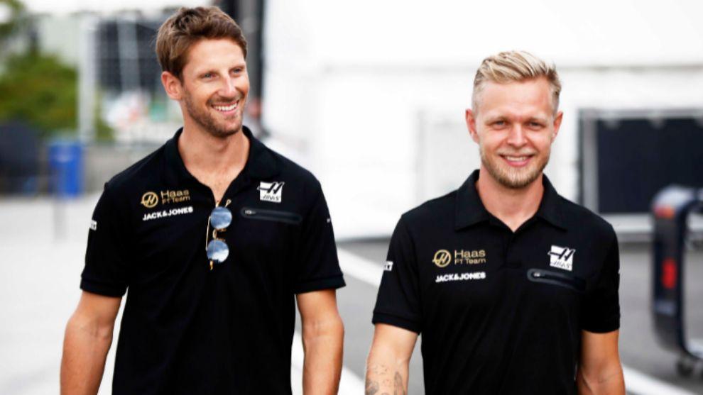 Romain Grosjean y Kevin Magnussen.