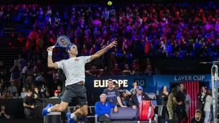 Roger Federer, en un entrenamiento previo a la Laver Cup 2019
