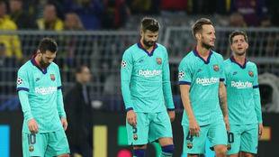 Varios jugadores del Barcelona
