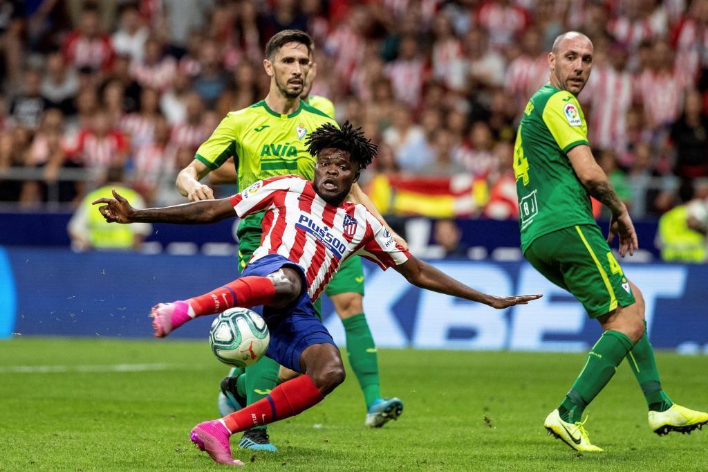 Thomas en el momento de anotar su gol contra el Eibar