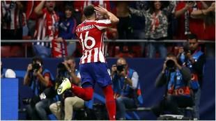 Héctor Herrera celebra el gol conseguido ante la Juventus