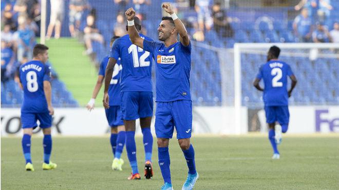 Angel celebra el gol de la victoria del Getafe.