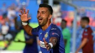 Ángel celebra el tanto que marcó ante el Trabzonspor.