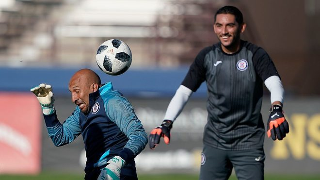 Óscar Pérez y Jesús Corona durante un entrenamiento.