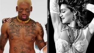 Dennis Rodman y la cantante Madonna