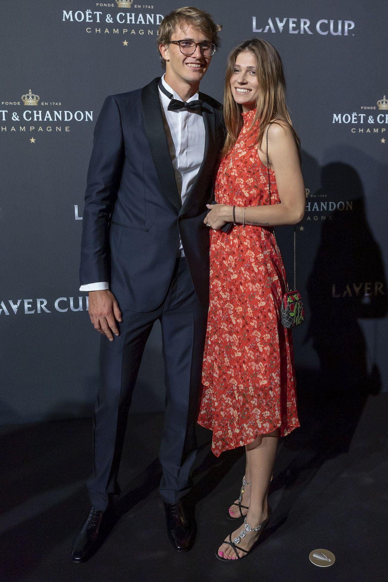 Alexander Zverev y Olya Sharypova en la alfombra roja de la noche de gala de la Laver Cup en Ginebra
