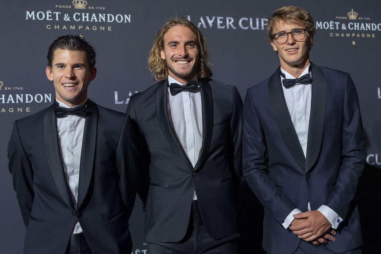 Dominic Thiem, Stefanos Tsitsipas y Alexander Zverev en la alfombra roja de la noche de gala de la Laver Cup en Ginebra