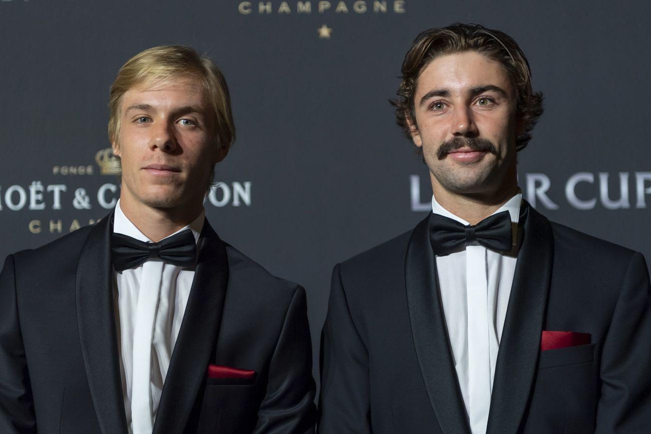 Denis Shapovalov y Jordan Thompson en la alfombra roja de la noche de gala de la Laver Cup en Ginebra