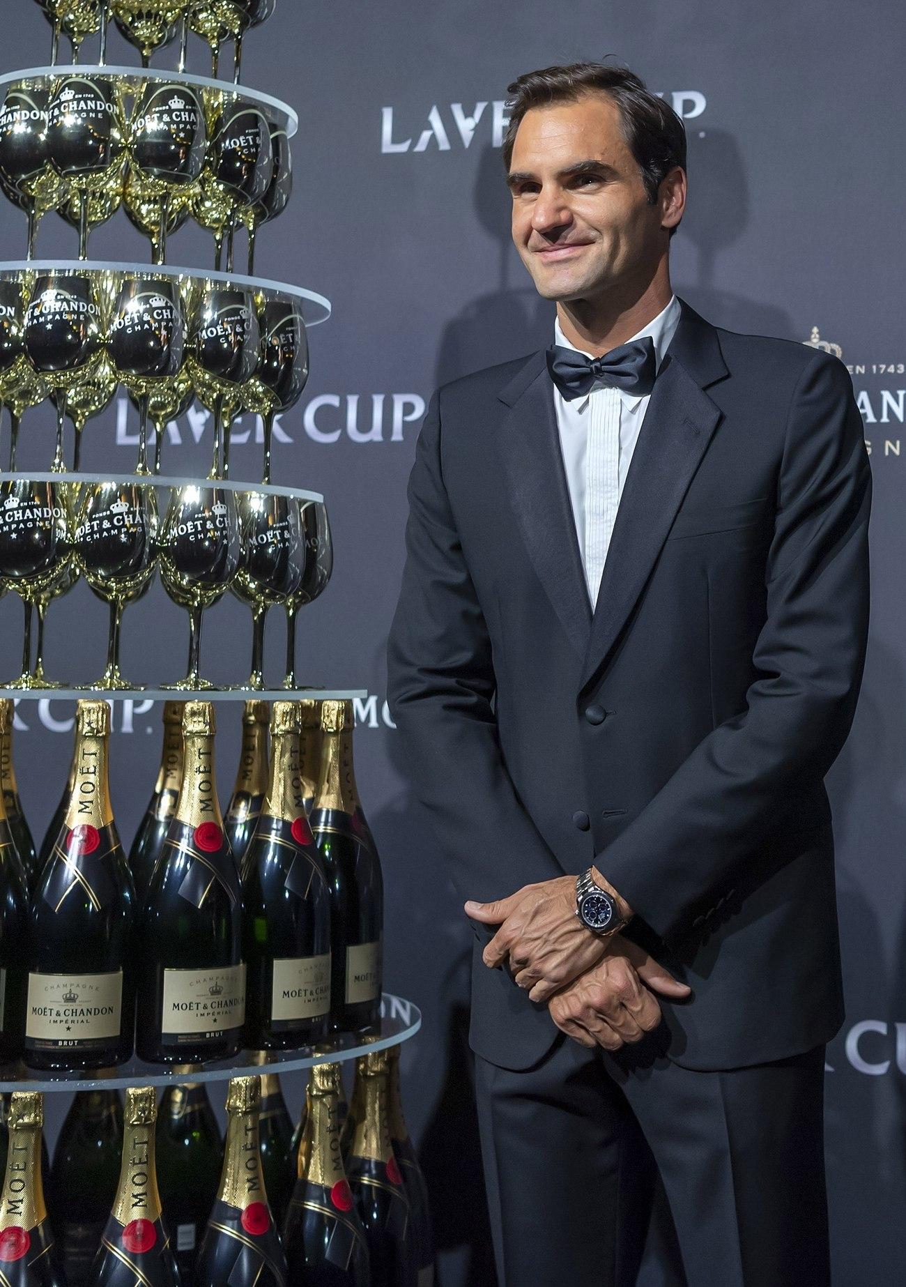 Roger Federer en la alfombra roja de la noche de gala de la Laver Cup en Ginebra