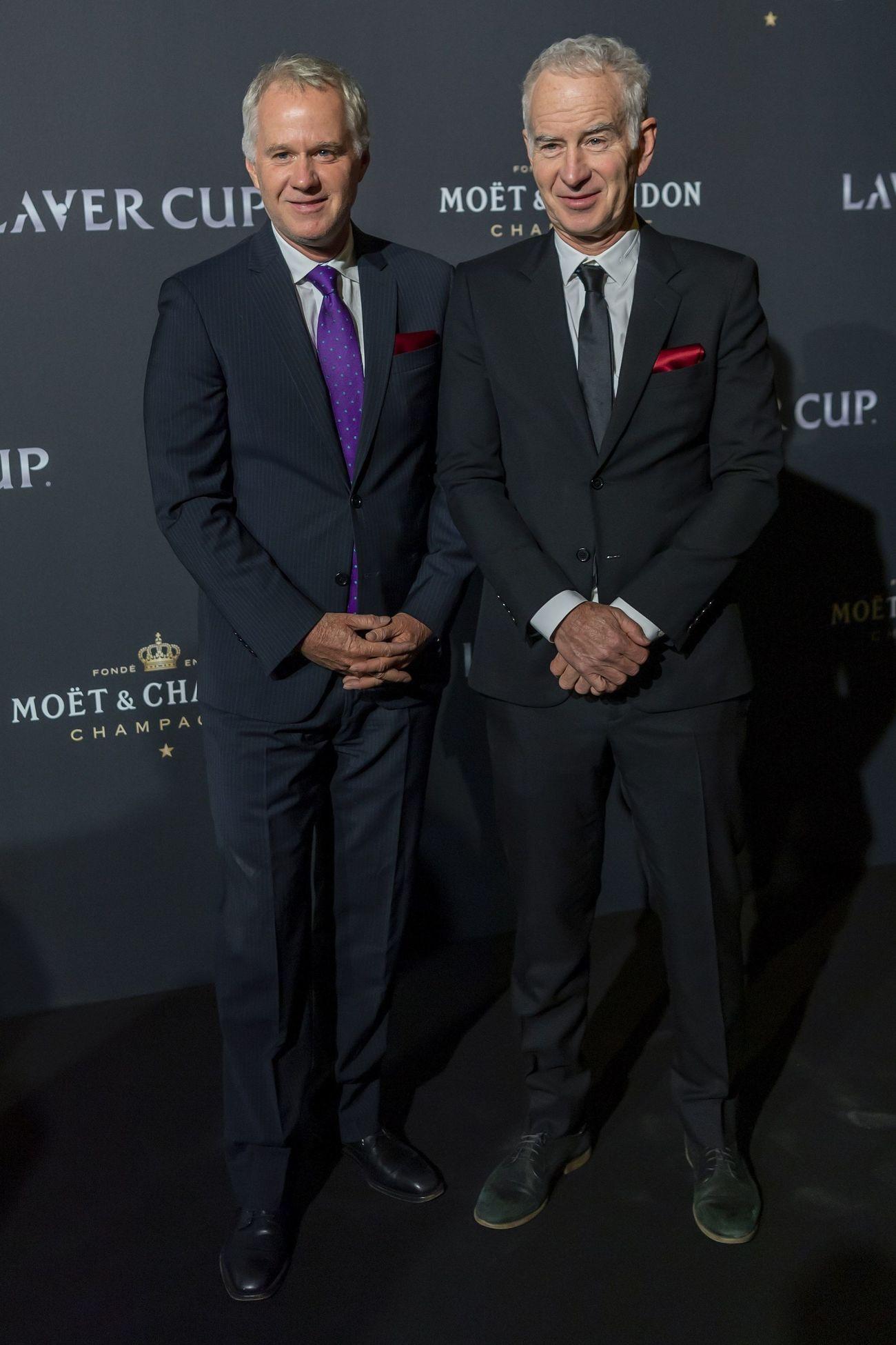 Patrick McEnroe y John McEnroe en la alfombra roja de la noche de gala de la Laver Cup en Ginebra.