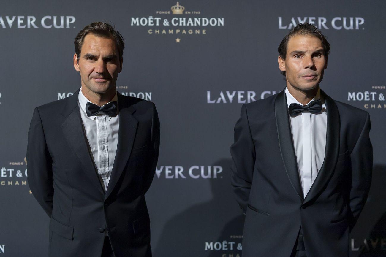Roger Federer y Rafa Nadal en la alfombra roja de la noche de gala de la Laver Cup en Ginebra.