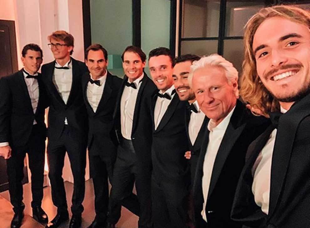 Simpática pose de las estrellas del tenis en la Laver Cup