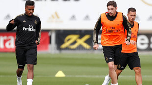 Federico Valverde, durante el entrenamiento de hoy del Real Madrid.