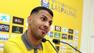 Jonathan Viera, mediapunta de la UD Las Palmas durante una rueda de...