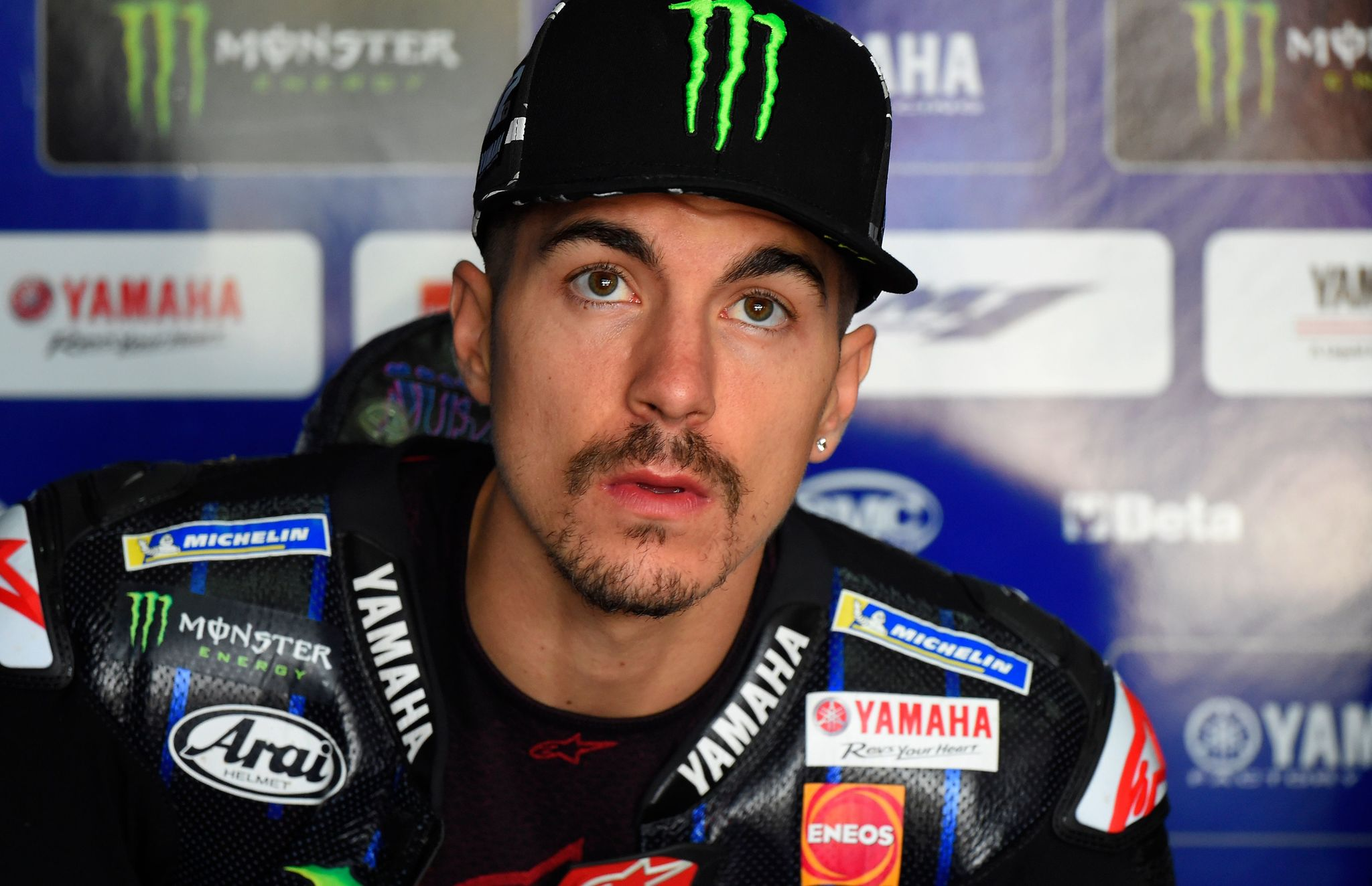 Monster Energy Yamaha Spanish rider Maverick <HIT>Vinales</HIT> looks on during the first MotoGP free practice session of the Moto Grand Prix of Aragon at the Motorland circuit in Alcaniz on September 20, 2019. (Photo by JOSE JORDAN / AFP)