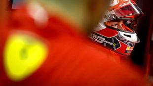 Leclerc, durante la calificación de hoy.