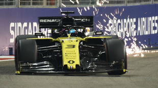 Ricciardo, durante la calificación en Marina Bay.