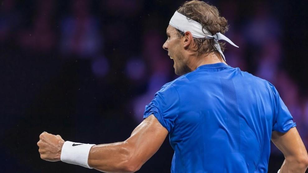 Rafa Nadal celebra un punto ante Raonic