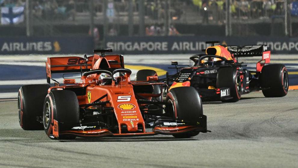 Vettel, durante el Gran Premio de Singapur.