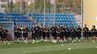 Los jugadores del Madrid, en la sesión de este lunes