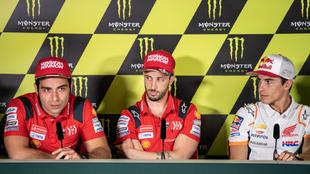 Danilo Petrucci, Andrea Dovizioso y Marc Márquez.