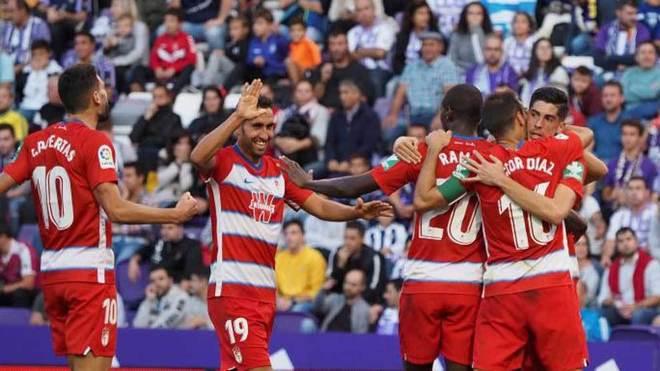Los jugadores del Granada celebran el tanto que marcaron ante el...