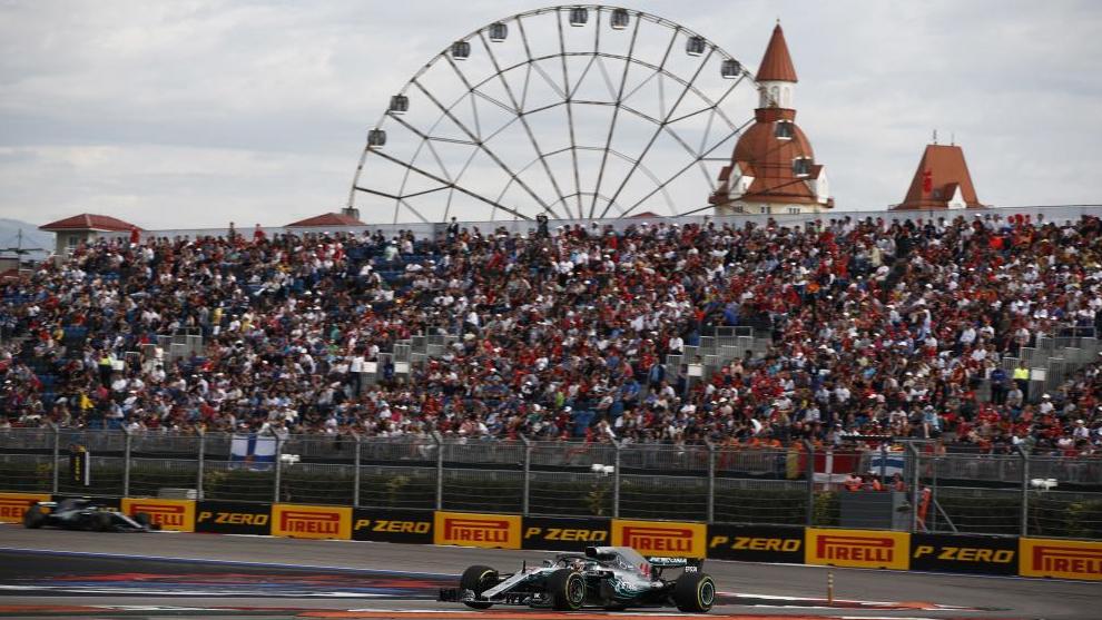 Ambos Mercedes, en el GP de Rusia de 2018.