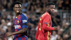 Ansu Fati, con el Barça y un montaje de la selección