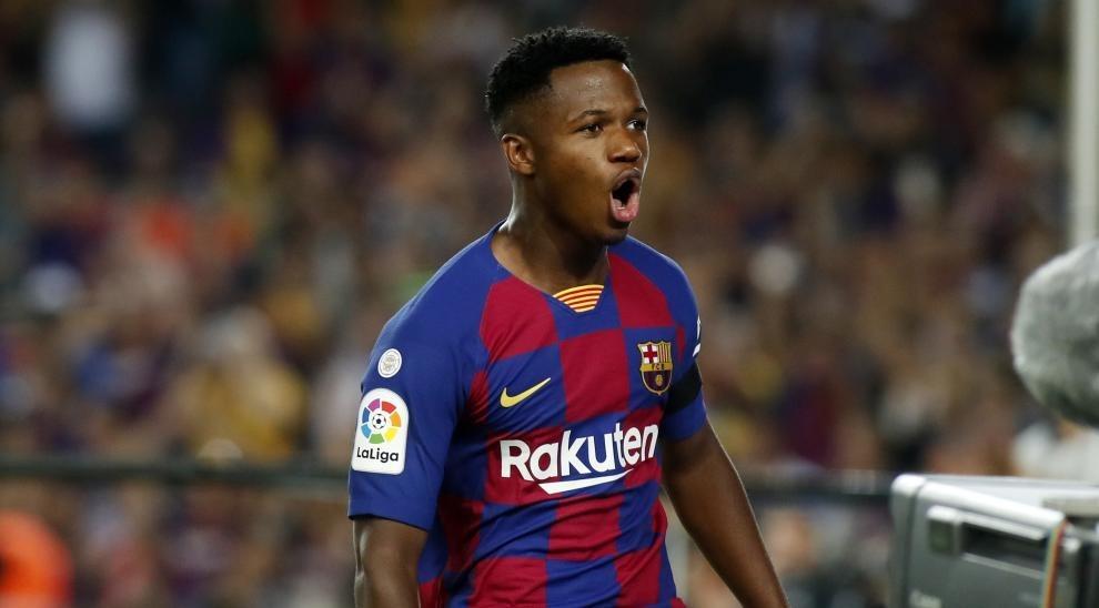 Ansu Fati, en un partido con el barcelona.