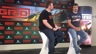 Fernando Alonso, durante la presentación del vídeojuego 'Grid'.