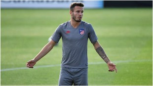Saúl en un entrenamiento con el Atlético de Madrid