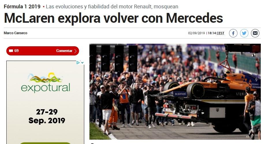 McLaren utilizará motores Mercedes a partir de 2021