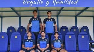 Juanma, José León, Clavería, Hugo Fraile y Javi Gómez posan en el...