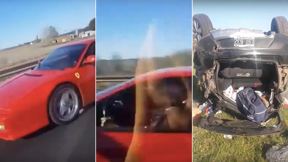 Se graban rebasando a un Ferrari y terminan volcados