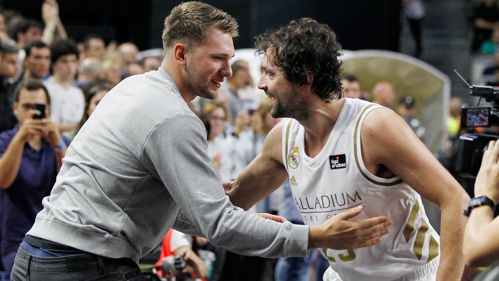 Luka Doncic with Sergio Llull after the Supercopa Endesa.
