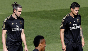 Bale y James en un entrenamiento del Madrid