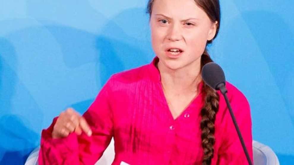Greta Thunberg durante su famoso discurso en Nueva York ante la ONU