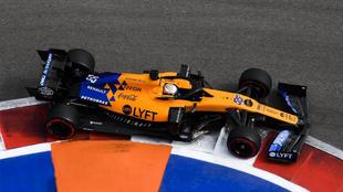 El McLaren de Sainz, en Rusia.