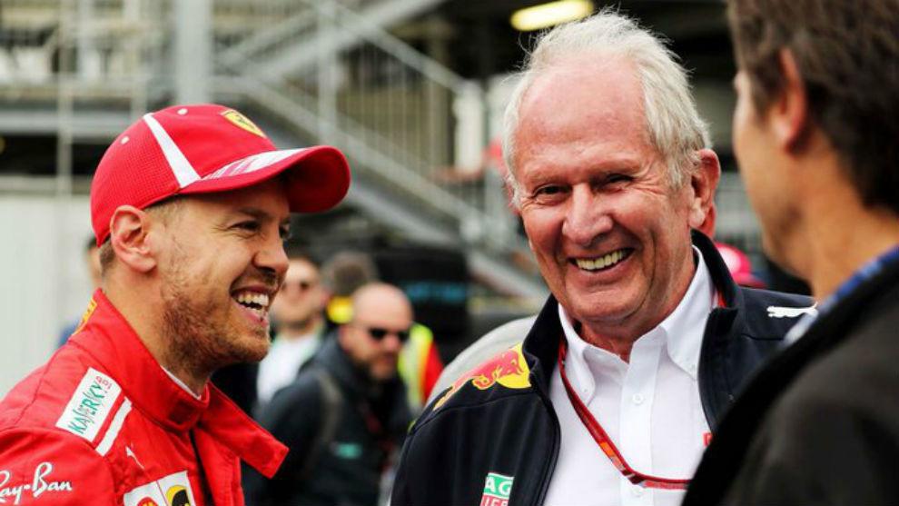 Sebastian Vettel, junto a Helmut Marko.