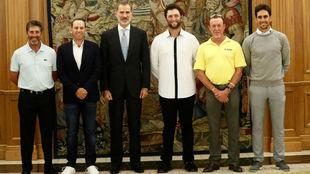 José María Olazabal, Sergio García, SM El Rey Don Felipe VI, Jon...
