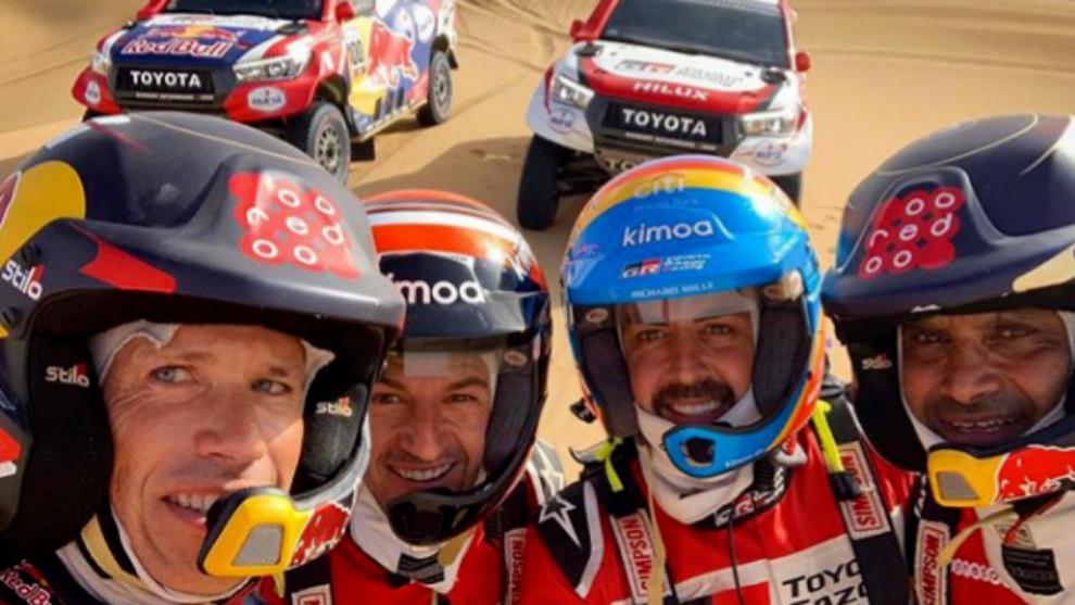Mathie Baumel, Marc Coma, Fernando Alonso y Nasser Al Attiyah.