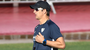 Lopetegui, en el entrenamiento de este miércoles del Sevilla.