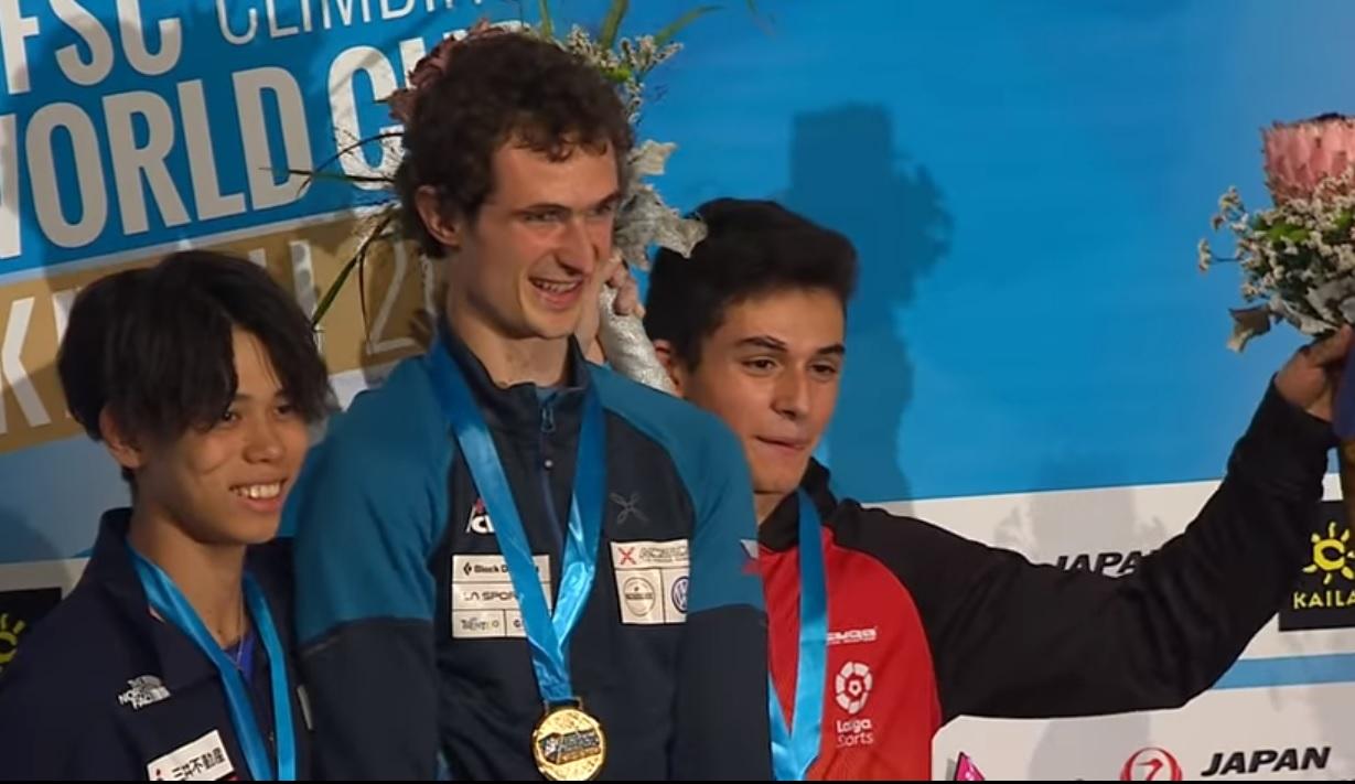 El podio: Harada, Ondra y Ginés.