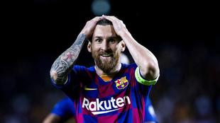 Messi, tras el gol de Suárez